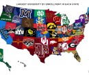 Map of largest university by enrollment in each US state